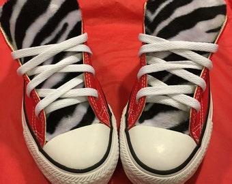 Zebra Print Converse Red shoes