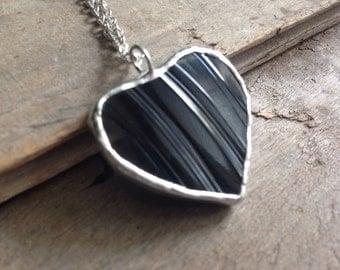 Graduation gift, goth jewelry, black necklace gift, black heart jewelry, lined jewelry, black silver heart, black glass heart, gothic heart