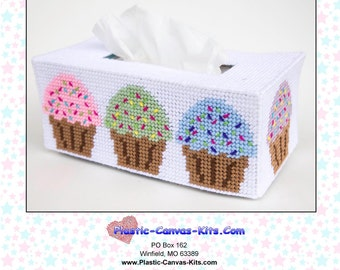 Cupcakes Long Style Tissue Topper-Plastic Canvas Pattern-PDF Download