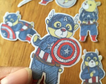 Handcut Captain Teddy Bear Stickers 5 pack