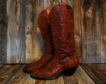 Vintage Exotic Nocona Cowgirl Boots, Cinnamon Brown Snakeskin Boots, Women's size 7B
