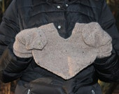 Knitted merino wool gloves for two. These lovers gloves can be great gift for couples or Valentines gift for her him