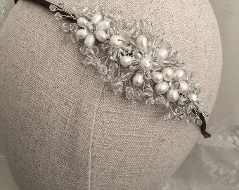 Pearl and crystal bridal side tiara, pearl tiara, pearl headpiece, bridal headpiece, wedding hair piece, bridal hair piece, tiara