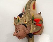 Vintage Old Java WAYANG GOLEK Wood Puppet Head, Indonesia tradional wooden puppet