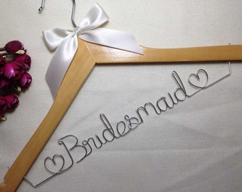Ships in 1-3 days,Custom Wedding Hanger,Personalized Bridal Hanger,Single Line Wire Name Hanger,Bridesmaid hangers,Mother hanger,Flower girl