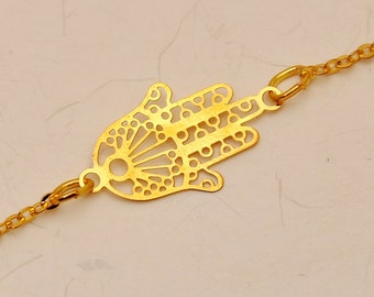 Hamsa Hand in Gold Plated Bracelet For Good Luck
