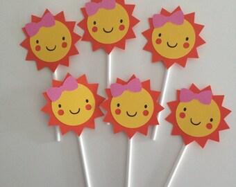 12 Girly Sunshine Cupcake Toppers | Sunshine Cupcake Toppers | Girly Sunshine Party Decor | Sunshine Toppers | 12 Girly Sunshine