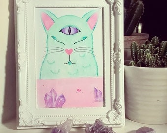 SALE!! -- LIMITED -- ExtraCATerrestrial: Alien Cat Framed Art Print