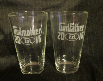 Godmother / Godfather Pint Glass Set of 2