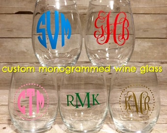 Custom Monogrammed Stemless Wine Glass