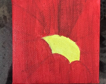 Red Flower Acrylic Painting 7cm x 7cm