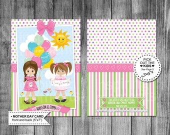 Mothers Day Card | Kids | Girls | Boys | Pick The Kids Out | 16 Choices | Happy Mothers Day | 5x7 | Printable Card | Customized