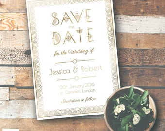 Art Deco Save the Date Card (customisation included)