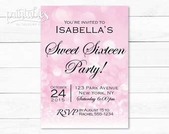 Sweet Sixteen Invitation Bokeh Lights, Bubbles Sweet 16 Birthday Party Invitation Pink, Sparkle Invitation, Quinceanera Invitation Printable
