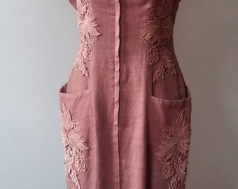 Vintage Chocolate Brown Linen Dress With Applique