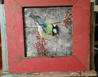 Bird, berries, winter 12x12. Frame not for sale
