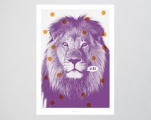 Löwe No. 2 (Miau) / Wild, Cat, Purple, Typography Art, Kunstdruck Poster, Wall-Art