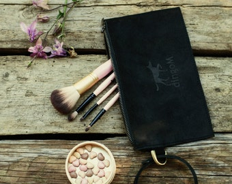 Makeup bag - Cosmetics bag - Lather purse - Clutch bag - Travel purse - Black leather clutch - Wristlet bag