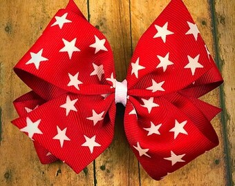 Red stars hair bow / double layer hair bow / summer hair bow