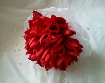 small bridal  red tulips bouquet for the bridesmaids to order your own design hand made  satin flowers