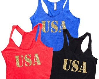 Women's Tank Top - USA. 4th of July Outfit. USA Tank. 4th of July Shirt Women. Workout Tank. July 4th Tank. Country Concert. Workout Shirts