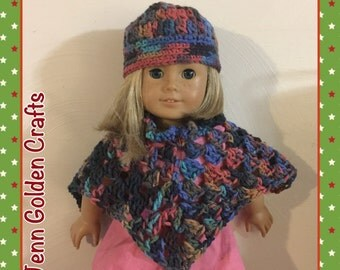 American Girl Doll Crochet Poncho & Hat set