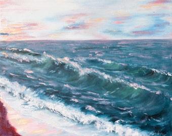 Marine art,oil painting, seascape, ocean oil painting, seascape painting, ocean wave oil painting FREE US SHIPPING