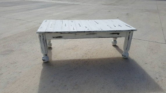 Rustic Coffee Table With Distressed White Enamel Finish Shabby Chic