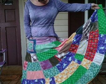 Tiered Maxi Skirt Hippie Patchwork mandala pocket Vintage Fabric Spinny maxi Skirt Festival hooping hemp