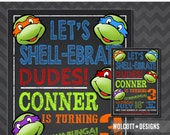 Ninja Turtles Invitation, TMNT Invite, Chalkboard, Ninja Turtle Party, Printable, TMNT Party, Leonardo, Michelangelo, Donatello, Raphael