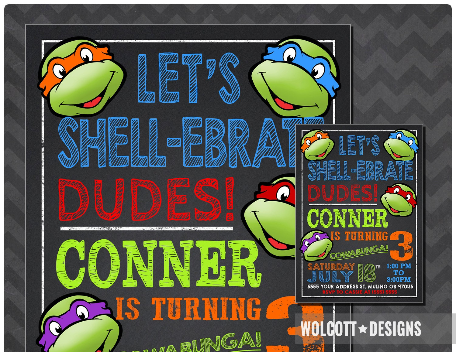 ninja turtles  etsy, Party invitations