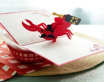 Fancy Lobster Pop Up Card, Lobster Pop Up Card, Birthday Pop Up Card, Lobstah Card, Seafood Card, Under the Sea, Seafood Enthusiast, Lovepop