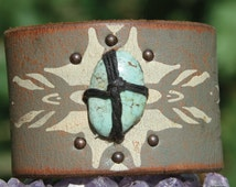 HandCrafted Leather Cuff Bracelet w/ Authentic Bisbee Turquoise Cabochon on Distressed Painted Leather