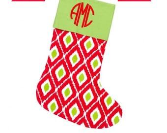 Christmas stocking, ikat, personalized FREE, monogram