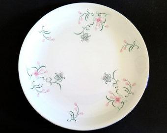 Vintage Dinner Plate Arlen Fine China Cho-Chin Pink Flowers Platinum Rim Green Leaves