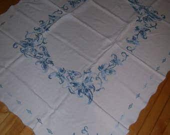 Blue Cross Stitch Tablecloth, Rectangular Tablecloth, 45.5x60 Vintage