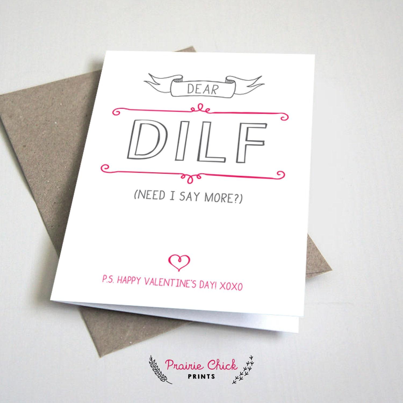 Dear DILF Valentines Day CARD Dad or Father Boyfriend or – Valentines Card for Dad