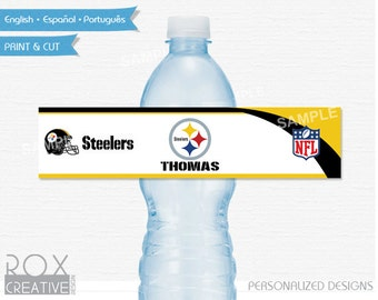 Pittsburgh Steelers Party Water Labels, Printable Labels, Digital – Customized