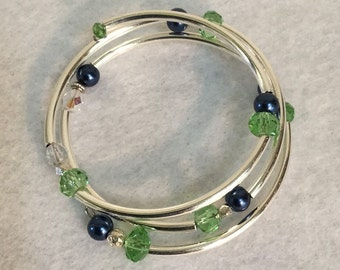 Green, blue, and silver Memory Wire bracelet