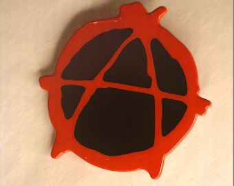 Anarchy Symbol Pin (Red/Black)