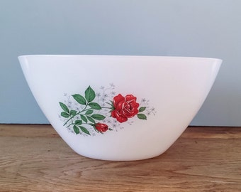 1970's Arcopal Bowl Red Rose White Milkglass - Retro Floral Design French Pyerx Kitchenware