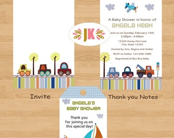 Little Travelers Cars Printed Invitations