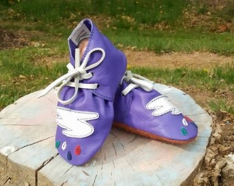 Baby Booties, Soft Baby Shoes, Blue Leather Shoes, Baby Crib Shoes, Handmade Baby Booties, Baby Leather Shoes, Rain Drops Baby Shoes,