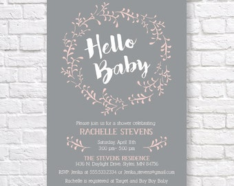 BABY SHOWER INVITATION- Gender Neutral Baby Shower Invitation- printable baby shower invitation- pink and gray invitation- hello baby-  5x7