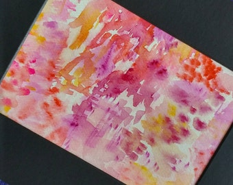 "Original Colorful Watercolor Abstract Painting/Matted and Mounted 8""x10"""