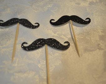 Black Glitter Mustache Cupcake Cake Toppers - Wedding, Birthday, Event. Set of 10