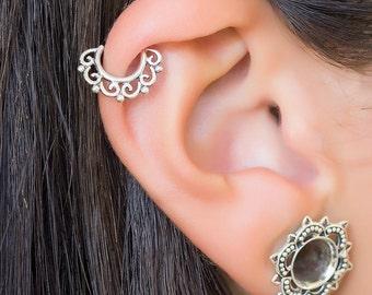 Helix earring. helix hoop. helix piercing. cartilage hoop. cartilage earring. boho earrings. tragus earring silver. silver helix earring.