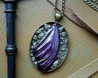 Butterfly wing and pyrite pendant necklace