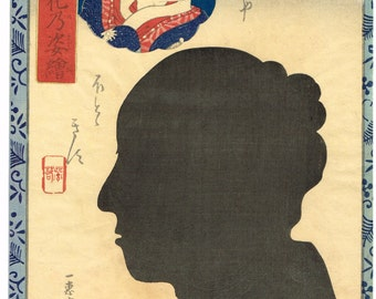 Japanese original Ukiyo-e Woodblock print, Ochiai Yoshiiku, from the series Portraits as True Likenesses in the Moonlight ,Edo-period