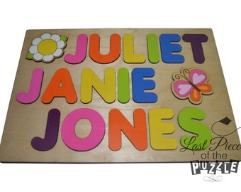 Spring has Sprung Hand Crafted Personalized Wooden Name Puzzle Three (3) Names Child's, Custom Made Puzzle, Butterfly, Flower id234412182